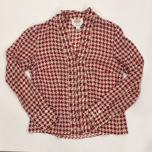 Talbots Red Silk Houndstooth Blouse